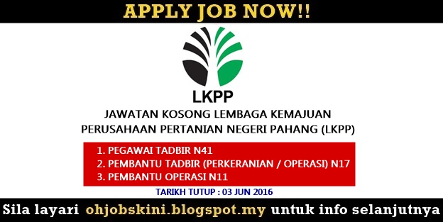 Jawatan Kosong Lembaga Kemajuan Perusahaan Pertanian (LKPP)