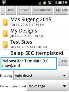 edit template using mobile android app