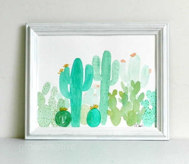 Green Watercolor Cactus Landscape in Watercolor by Elise Engh