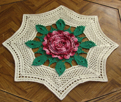 Giant Rose Table Topper - Handmade Irish Crochet by RSS Designs In Fiber