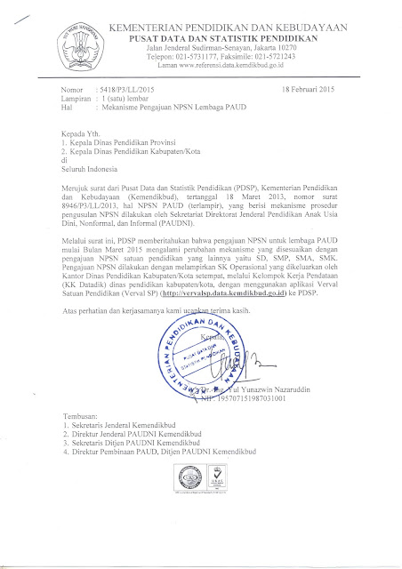 Mekanisme Pengajuan NPSN Lembaga PAUD Tahun 2015