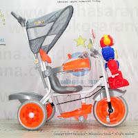 Sepeda Roda Tiga Family F823FT Robot Dobel Musik Bintang Ban Jumbo Orange/Blue