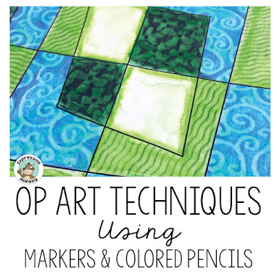 Here are 4 mess-free techniques using only markers and colored pencils that will turn your Op Art coloring pages into works of art!  I'll show you in these step-by-step tutorials, how easy it is to mix up your media a little and achieve beautiful results on your next art project!