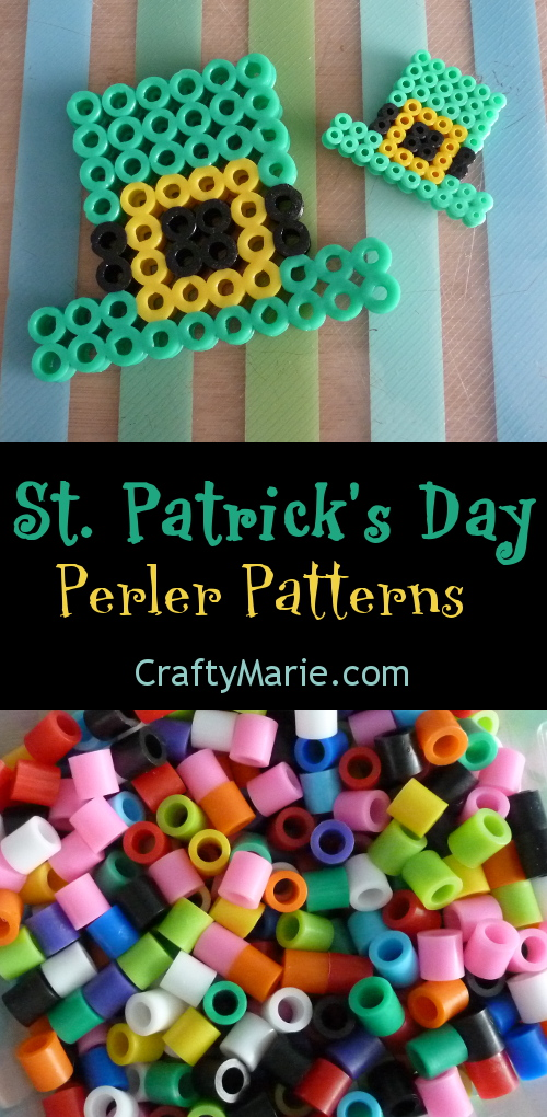 Perler beads St Patrick Day patterns to make and follow, cute designs