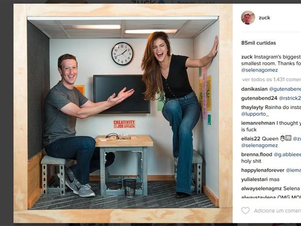 Zuckerberg posta foto com Selena Gomez, a maior estrela do Instagram