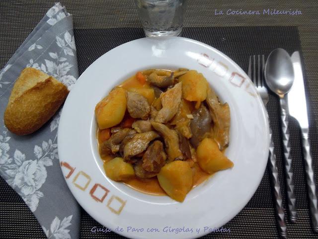 Guiso de pavo con g rgolas y patatas olla r pida - Patatas en olla rapida ...