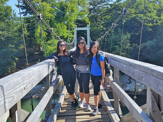 Abbie, Erika and Anna at the Hanging Bridge