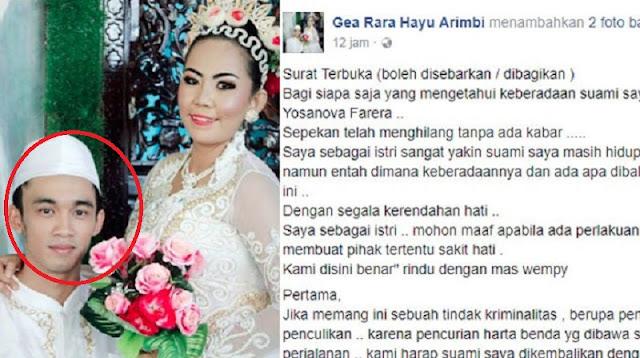 Sang Suami Hilang Tanpa Kabar! Wanita Ini Pun Tulis Surat Terbuka Di Sosmed, Isinya Bikin Hati Terenyuh!!
