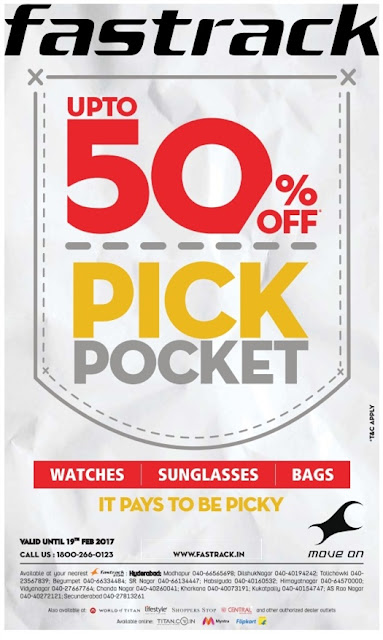 Fastrack up to 50% off pick pocket sale | February 2017 discount offers