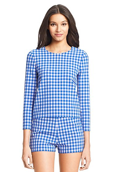 My original inspiration was this picture of a simple Diane Von Furstenberg  top from my Gingham Pinterest board 08fedfaf5