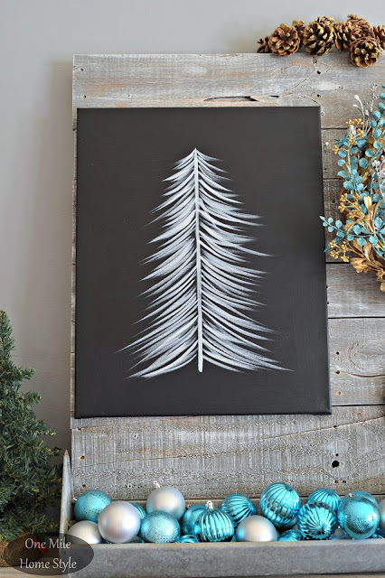 Black and White Christmas Tree Art with Silver and Blue Christmas Ornaments | Christmas Home Tour - One Mile Home Style