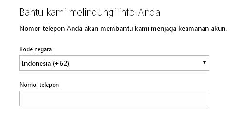 Formulir pengisian omor yang dapat dihubungi pada proses pendaftaran Akun Microsoft
