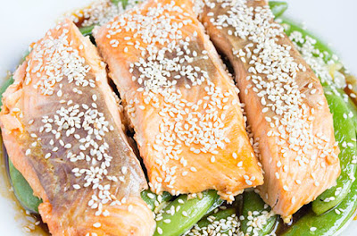 Chinese food - Sweet broad peas and microwave oven baked salmon