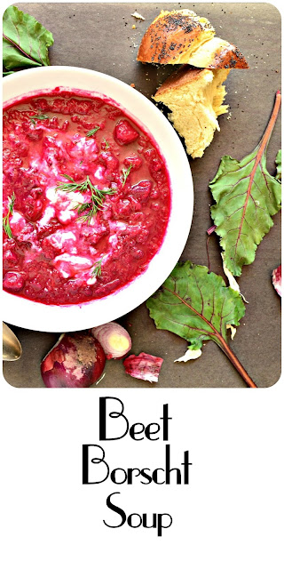 Beet Borscht Soup is hearty and filled with things such as beets, potatoes and cabbage. It is soothing with a slight sweet and sour goodness. It took me years to make this and now I have a lot of years to make up for! www.thisishowicook.com #borscht #beetrecipes #soup www.thisishowicook.com