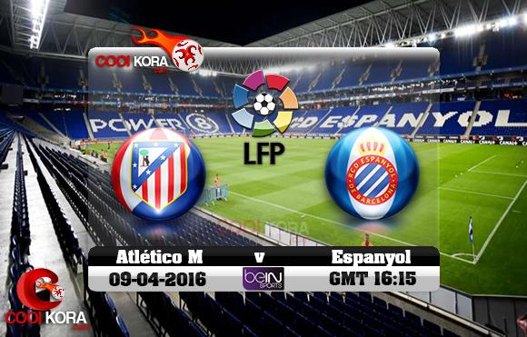 مشاهدة مباراة إسبانيول وأتلتيكو مدريد اليوم 9-4-2016 في الدوري الأسباني