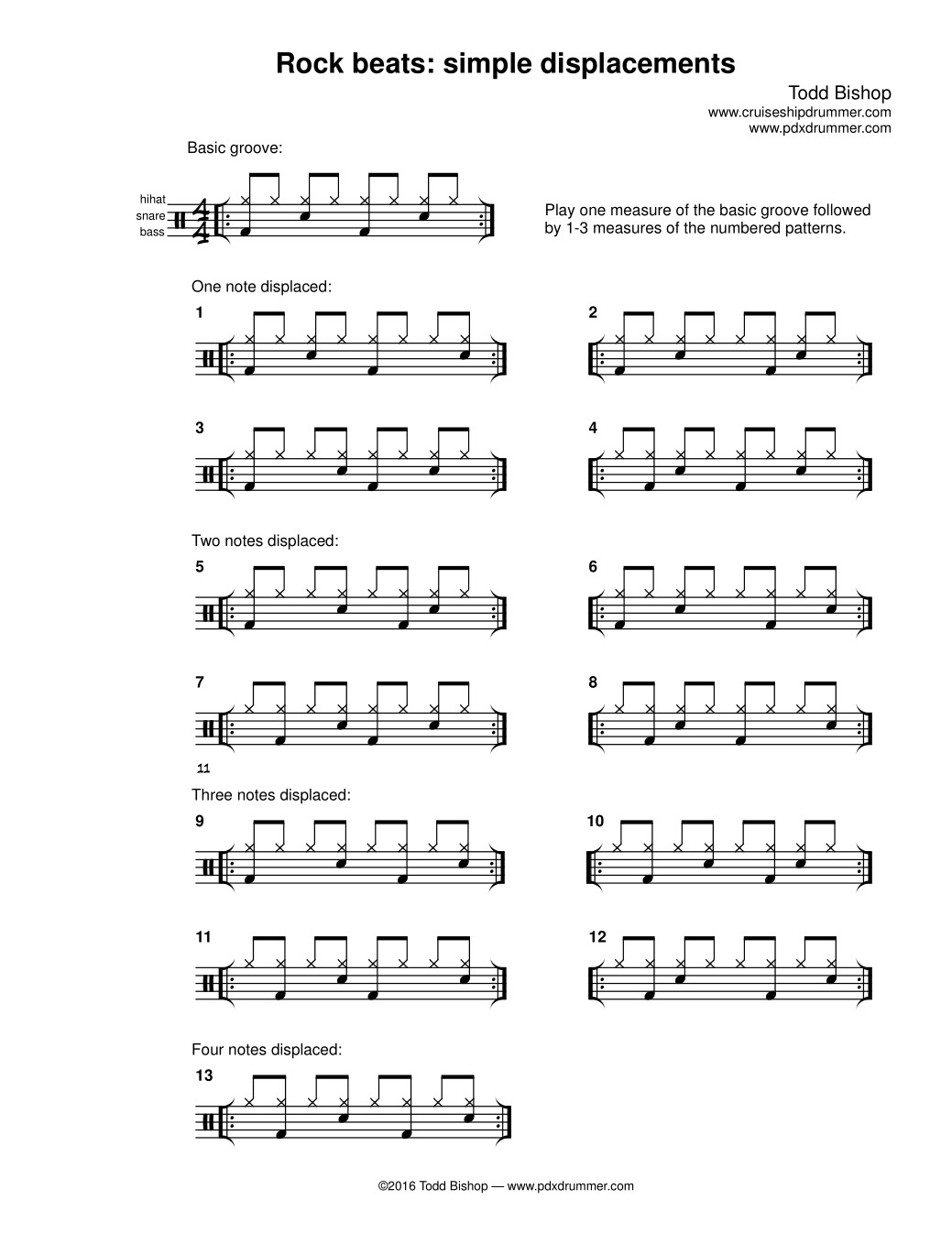 Learn to play snare drum rhythms patterns