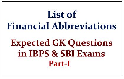List of Important Financial Abbreviations Part-I