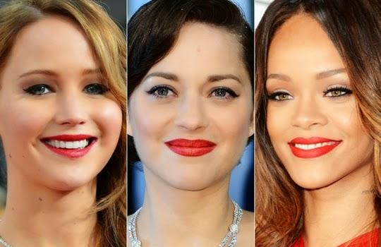 lipstik merah klasik yang dipakai Jennifer Lawrence, Marion Cotillard, dan Rihanna