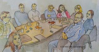 Reunión de grupo con expertos cualitativos