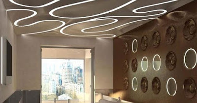 office ceiling design with false ceiling LED lights