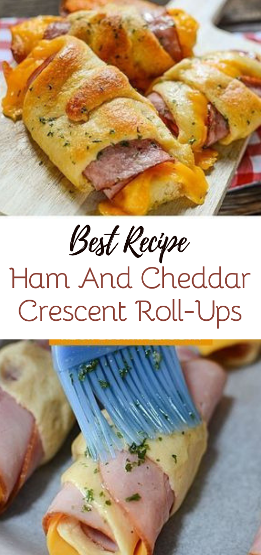 Ham And Cheddar Crescent Roll-Ups #dinnerrecipe #food