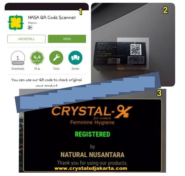 nasa qr scan code crystal x, crystal x asli, ciri-ciri crystal x asli, crystal x nasa, nasa qr code scanner, cara scan crystal x asli, produk nasa ada qr code