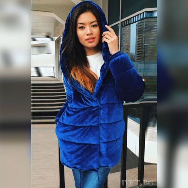 Μοντέρνο  μπλε γυναικείο μπουφάν AMORITA NAVY