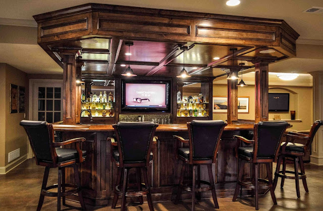 inspiring wood basement bar ideas with antique wood bar stools with black leather cushion plus commercial pendant lamp