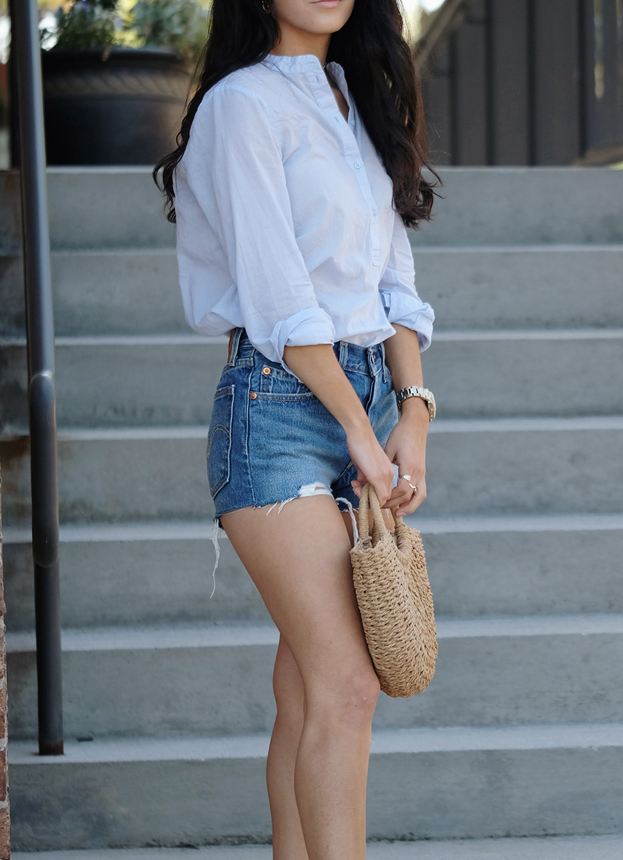 levis 501 back to your heart shorts | lulus straw bag | sam edelman bay sandal | how to style straw bag for summer