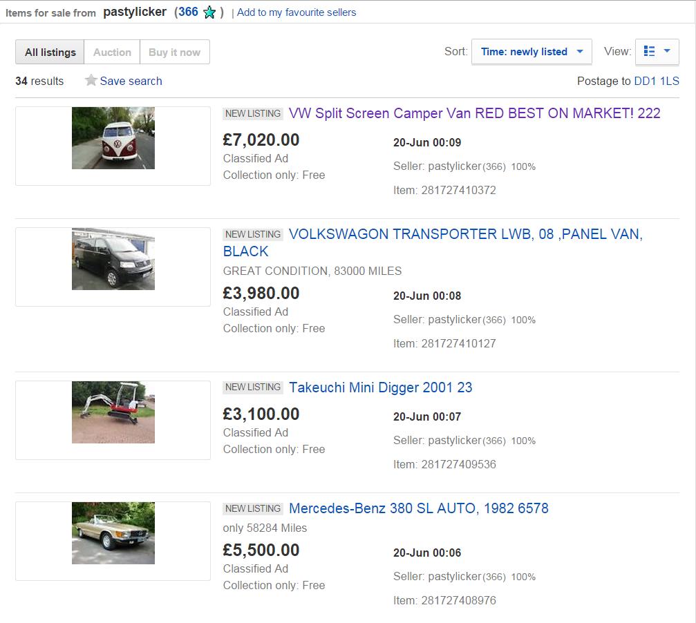 Jack Buster Jack Ebay Scam 34 Listings Motorhomes Campervans Classic Cars 4x4 Caravan Fraud 20 Jun 15