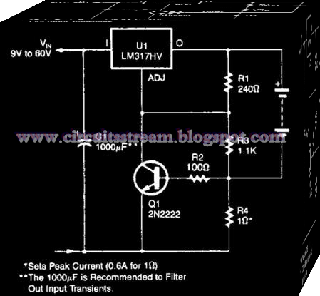 Simple Current-Limited 6-V Charger Circuit Diagram