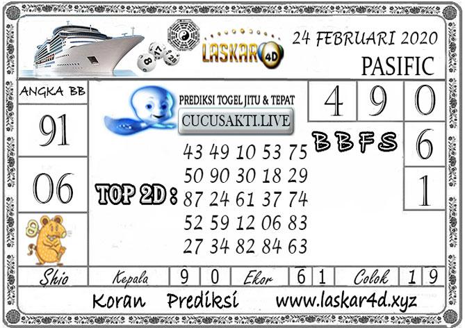 Prediksi Togel PASIFIC LASKAR4D 24 FEBRUARI 2020