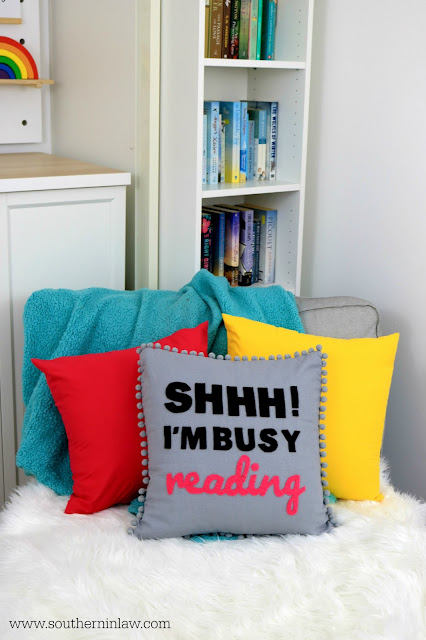 Colorful Home Styling with Personality - Rainbow Decor Ideas, Dream Bookworm Bedroom Inspiration, Shh I'm Busy Reading Throw Pillow