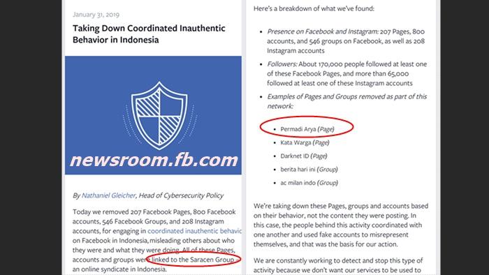 Facebook Hapus Akun Terkait Saracen, Termasuk Fanpage Permadi Arya