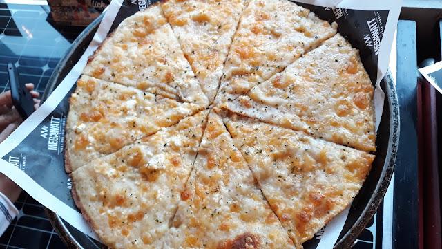 Cheese Cheese Cheese Crispy Thin Pizza   (Feta, Sharp Cheddar, Gruyere, Parmigiano, Mozzarella)  Php 315