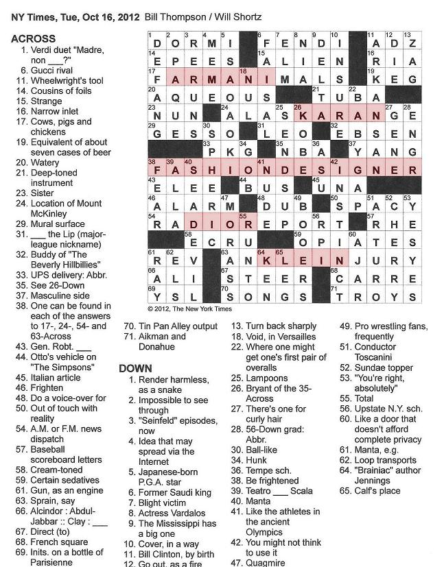 The New York Times Crossword in Gothic: 10.16.12 — Fashion