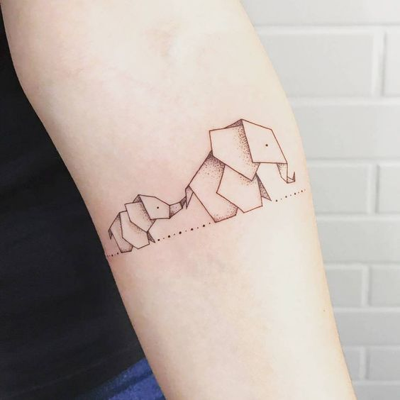 Mother and Baby Elephant Tattoo Designs