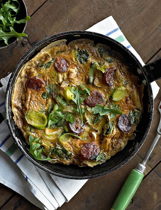 Omelette and Frittata Recipes Leekandchorizofrittata