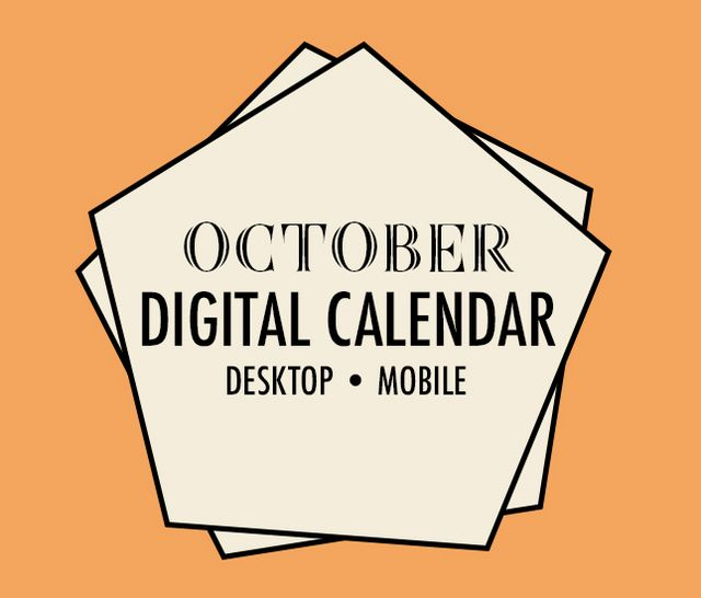 free digital calendar - october 2018