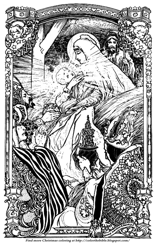 An Art Nouveau Nativity Coloring