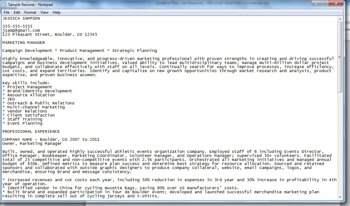 plain text format resume