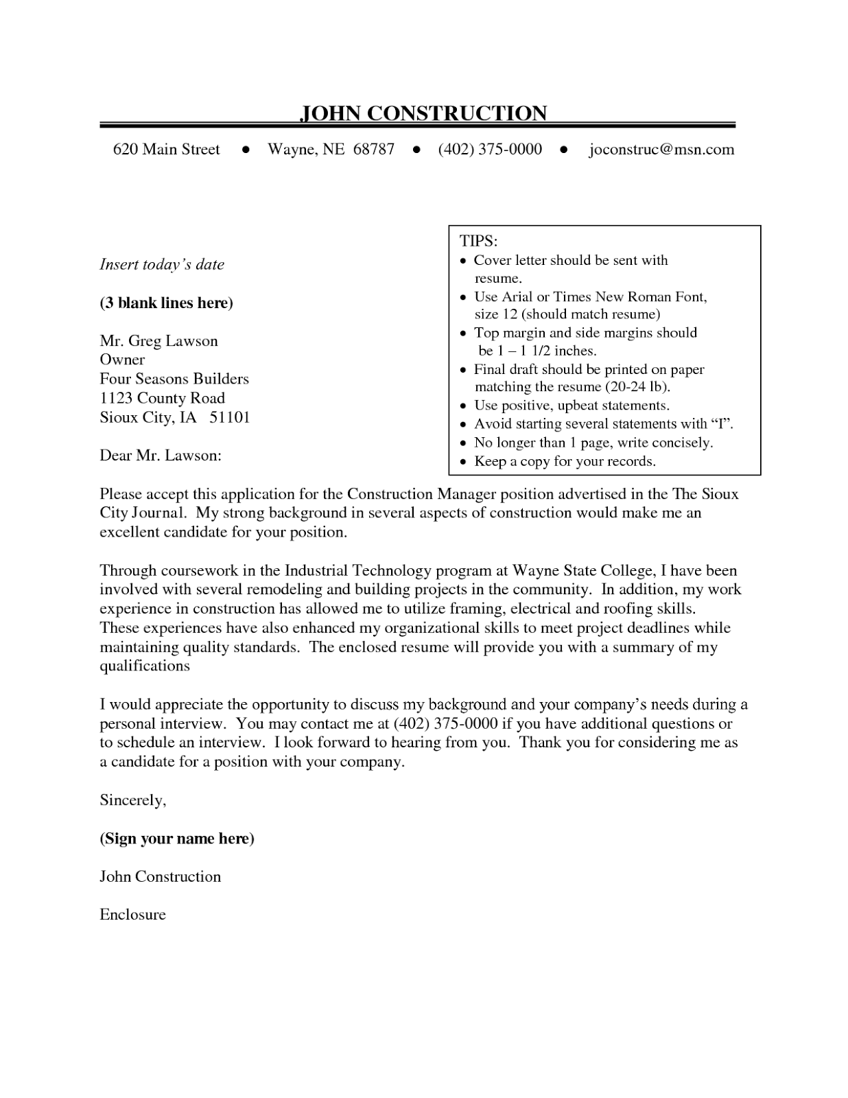 Sample Resume Cover Letter Construction - Tipss und Vorlagen