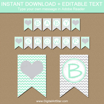 printable gray chevron baby shower banner with mint green accents