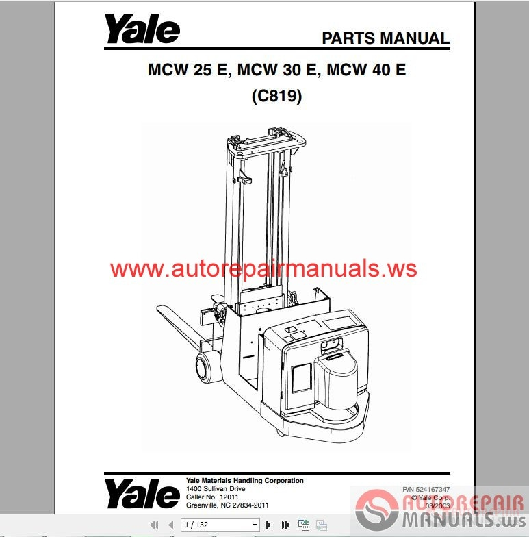 Free Auto Repair Manual : Yale Forklift full set PDF