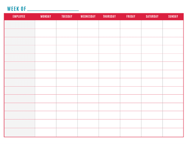 employees work schedule templates free