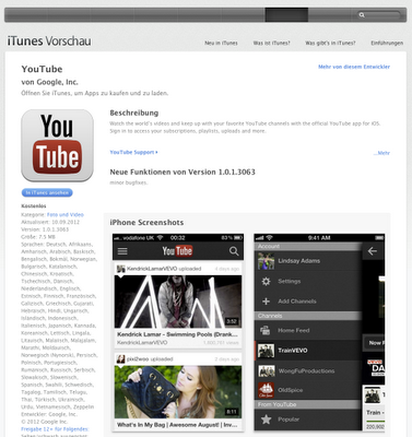 YouTube-App für iPhone und iPod Touch
