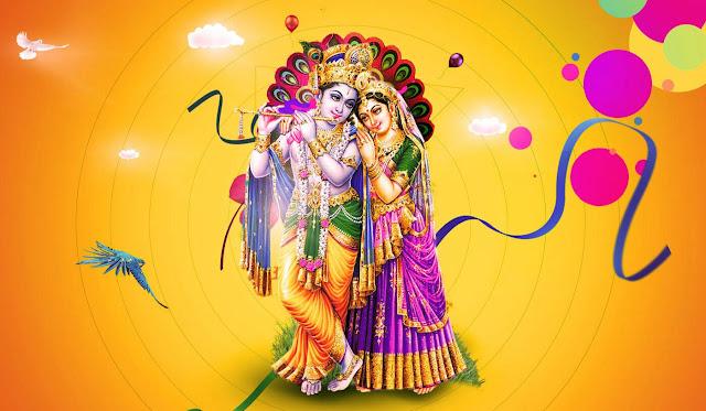 Lord Krishna & Radha HD wallpaper In Yellow Background