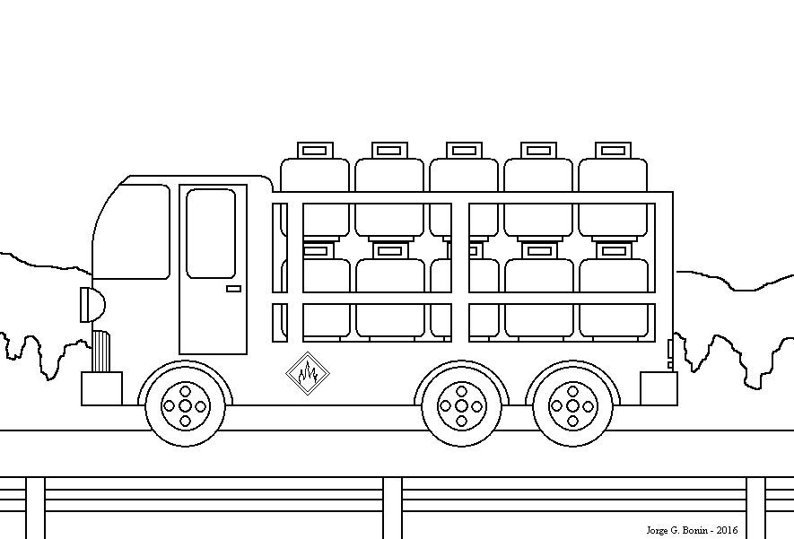arte no paint desenho para colorir caminhão botijões de gás