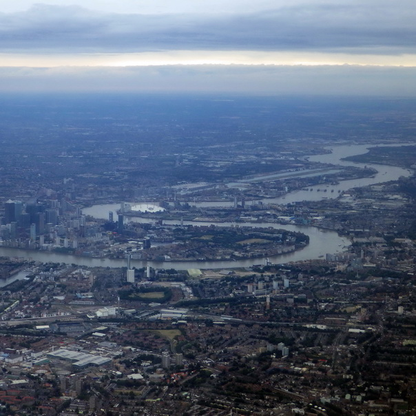 London City Themse Thames Fluss Canary Wharf Flug Flugbild