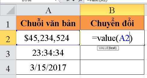 Cách sử dụng hàm VALUE trong Excel